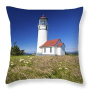 Wildflowers And Cape Blanco Lighthouse Throw Pillow