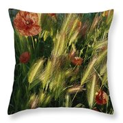 Wildflowers And Grass Tufts In Provence Throw Pillow