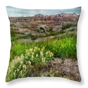 Wildflowers In Badlands Throw Pillow