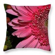 Wildly Pink Mum Throw Pillow
