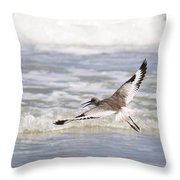 Willet Flying Throw Pillow