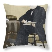 William Cullen Bryant, American Poet Throw Pillow by Science Source