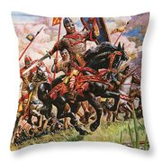 William The Conqueror At The Battle Of Hastings Throw Pillow