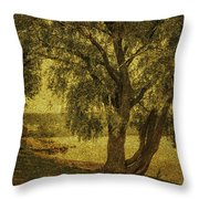 Willow At The Lake. Golden Green Series Throw Pillow by Jenny Rainbow