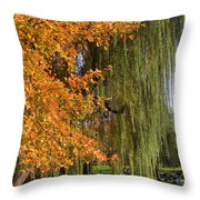 Willow In The Garden Throw Pillow