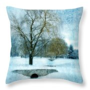 Willow Trees By Stream In Winter Throw Pillow