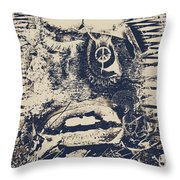 Willy The Smirk Two Throw Pillow by Empty Wall