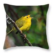 Wilsons Warbler In Song Throw Pillow