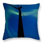 Wind Farm And Northern Lights Throw Pillow