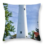 Wind Point Lighthouse Throw Pillow