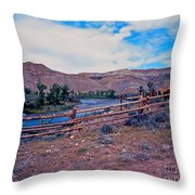 Wind River And Horses Throw Pillow