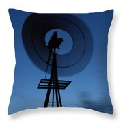 Windlill At Night Throw Pillow