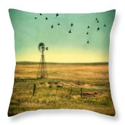 Windmill And Birds Throw Pillow