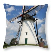 Windmill And Blue Sky Throw Pillow by Carol Groenen
