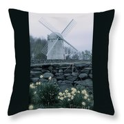 Windmill And Daffodils  Throw Pillow