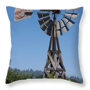 Windmill Blue Sky Throw Pillow
