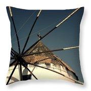 windmill Greece Throw Pillow by Joana Kruse