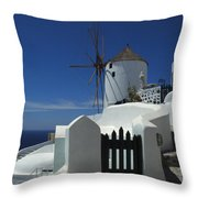 Windmill Greek Islands Throw Pillow