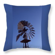 Windmill In Blue  Throw Pillow