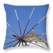 Windmill In Santorini Throw Pillow