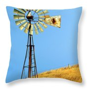 Windmill On Golden Hill Throw Pillow