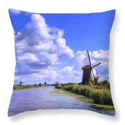 Windmills In Holland Throw Pillow