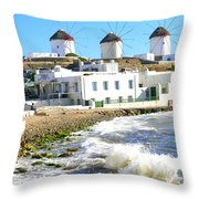 Windmills On Mykonos Throw Pillow