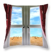 Window And Curtains With View Of Crops  Throw Pillow