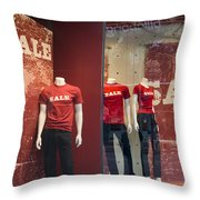 Window Display Sale With Mannequins No.0112 Throw Pillow