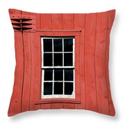 Window In Red Wall Throw Pillow