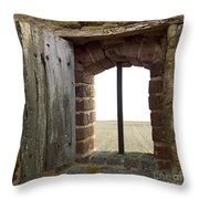 Window Of A Derelict House Overlooking Field Throw Pillow