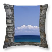 Window View At Fayette State Park Michigan Throw Pillow