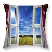 Window View Onto Arable Farmland Throw Pillow