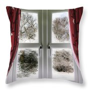 Window View To A Snow Scene Throw Pillow