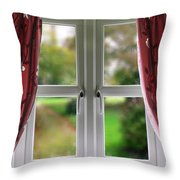 Window With Curtains Throw Pillow
