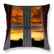 Window With Fiery Sky Throw Pillow