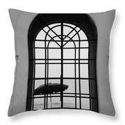 Windows On The Beach In Black And White Throw Pillow