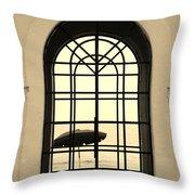 Windows On The Beach In Sepia Throw Pillow