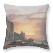 Windsor Castle North Terrace Looking West At Sunse Throw Pillow