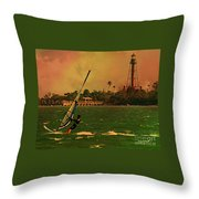 Windsurfer In Paradise Throw Pillow