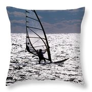 windsurfer rides the water at West Dennis Beach on Cape Cod Throw Pillow