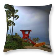 Windy Day In Haleiwa Throw Pillow