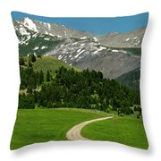 Windy Road To The Crazy Mountains Throw Pillow