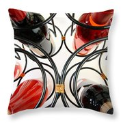 Wine Bottles In Curved Wine Rack Throw Pillow