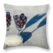 Wine Glass With Grapes Throw Pillow