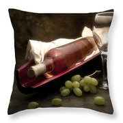 Wine With Grapes And Glass Still Life Throw Pillow