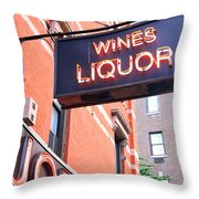 Wines And Spirits Sign Throw Pillow