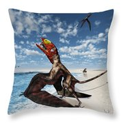 Winged Dimorphodon Pluck Fish Throw Pillow by Walter Myers