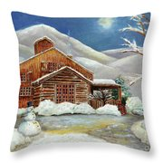 Winter At The Cabin Throw Pillow