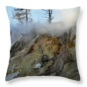 Winter At Yellowstone's Mammoth Terrace Throw Pillow